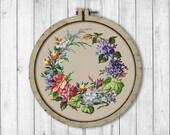 Vintage Wreath 1 Cross Stitch Pattern, Antique Flowers Cross Stitch Pattern, Vintage Flowers, Flowers Wreath, Modern Embroidery Flowers