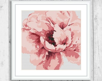 Flowers Cross Stitch Pattern, Nature Counted Cross Stitch Chart, Floral, Peony, Embroidery Flowers, Home Wall Decor, Instant Download PDF
