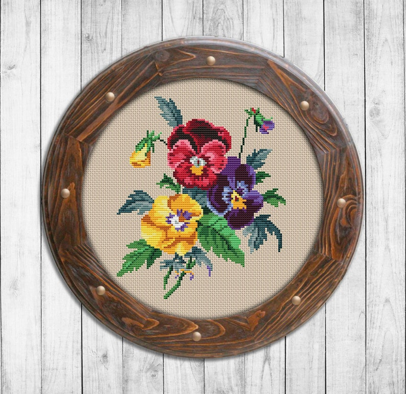 Pansies ~ Vintage Flowers ~ DIY Counted Cross Stitch Pattern