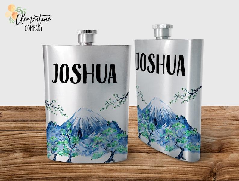 Custom Flask Groomsman Gift Wedding Custom Name Flask Mountain Theme Father/'s Day Flask Adventure Personalized Flask