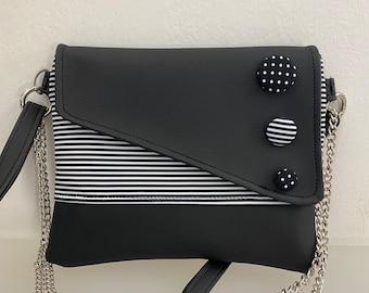 Punctuation. Snail shoulder bag. Clutch with chain. Handmade shoulder strap. Black vegan clutch. Clutch rows and buttons.
