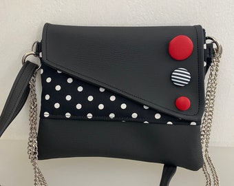 Punctuation. Snail shoulder bag. Clutch with chain. Handmade shoulder strap. Black vegan clutch. Clutch pol dots and buttons.