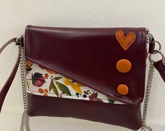 Punctuation. Chiocciolina shoulder bag. Clutch with chain. Handmade shoulder strap. Vegan clutch marc. Clutch flowers and buttons.