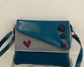 Punctuation. Chiocciolina shoulder bag. Clutch with chain. Handmade shoulder strap. Vegan oil clutch. Clutch strips and buttons.