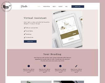 Wix Website Theme, Services, Business Website Design   Pink Blue Feminine Template, Small Business, Make up, Fashion,