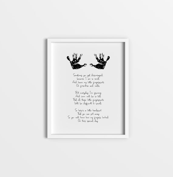 graphic relating to Sometimes You Get Discouraged Handprint Poem Printable known as Little one Handprint Poem - Do it yourself youngster reward youngster shower handprint wall artwork poem little ones nursery printable footprint unique present contemporary mums relatives decor