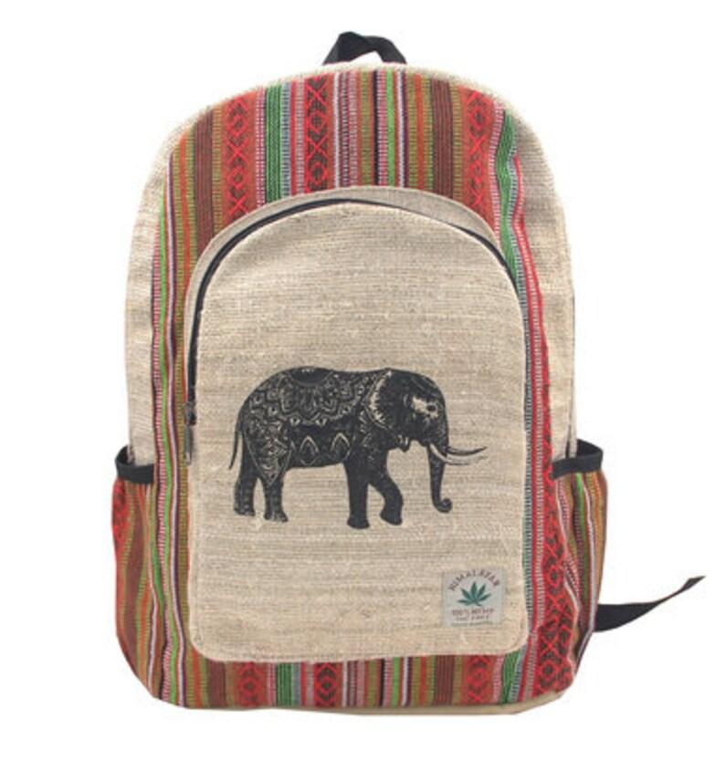 new concept e0cc7 d106d Elephant print Hemp backpack   Etsy