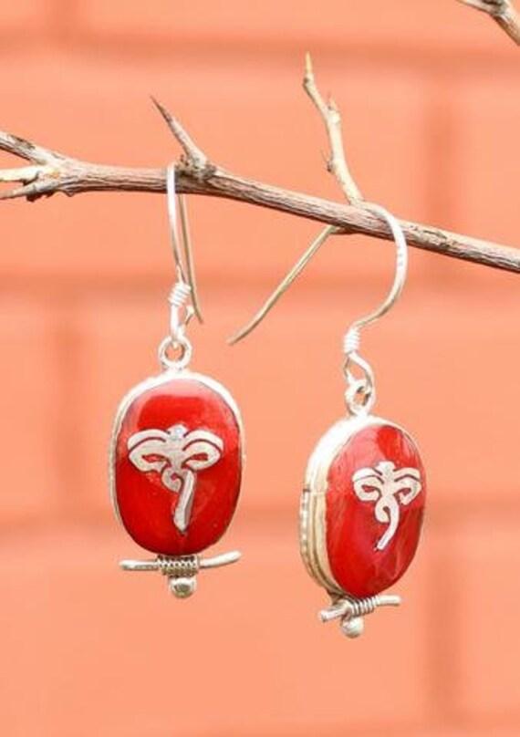 Handmade Rose quartz And Tibetan Silver Butterfly Earring