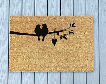 Love Birds Doormat / Home Decor / Valentines Day Gift/ Wedding Gift / Hand Made / Newly Weds / Porch Decor / Welcome Mat