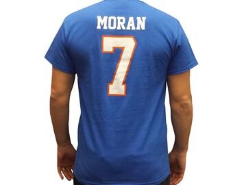 de12dd20dee Alex Moran #7 Mountain Goats Jersey T-Shirt Blue Tee Shirt Gift Halloween State  Football Costume Uniform