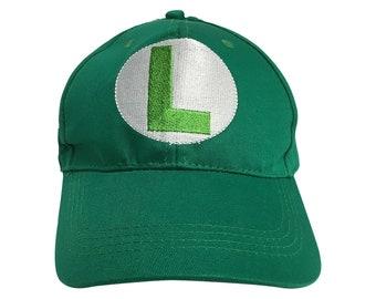 d229bb755da52 Luigi L Logo Green Baseball Cap Hat Mario Costume Cosplay Gift Game Gamer