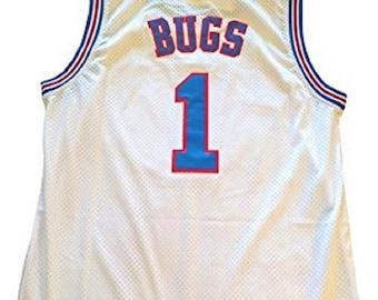 b69f90b5bd9 Bugs Bunny Tune Squad Jersey Basketball Movie Uniform Costume White #1 Shirt  Gift Halloween 90s Toon Cosplay