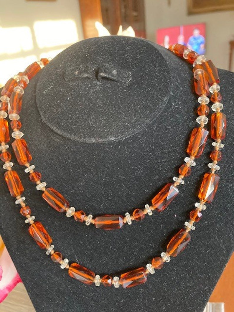 Edwardian Amber and Crystal Beads