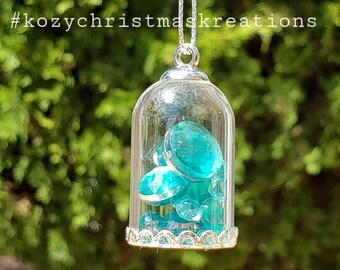 December turquoise blue birthday bell Vintage glass bell glass collectible Glass birthday bell birthstone glass vintage birthstone bell