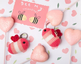 Bee my Valentine, Cute Valentine's Bumble Bee amigurumi keychain, crochet bee keyring or bag charm accessory - Made to order!