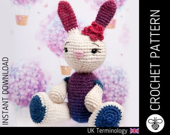 Luna Bunny CROCHET PATTERN, downloadable amigurumi crochet PDF pattern to make a cute crochet rabbit, crochet animal