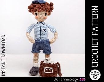 Cute Postie Doll CROCHET PATTERN, downloadable amigurumi PDF pattern to make a cute crochet postal worker doll & accessories, intermediate