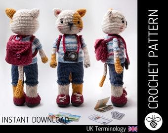 Colin the Cat CROCHET PATTERN, downloadable amigurumi PDF pattern for crocheters to make a cute crochet cat doll & accessories, intermediate