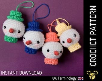 Snowman Christmas Tree Decorations CROCHET PATTERN - Downloadable amigurumi PDF pattern for a cute snowman bauble, Beginner, Xmas Decor