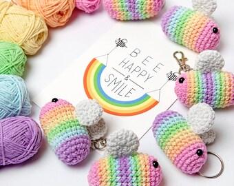 Crochet Rainbow Bee Keyring, Cute pastel bumble bee amigurumi keychain or bag charm accessory - Made to order!