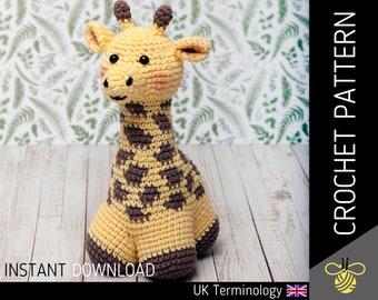 George the Giraffe CROCHET PATTERN, downloadable amigurumi PDF pattern for crocheters to make a cute crochet giraffe, crochet animal