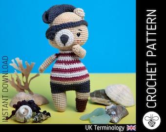 Pirate bear doll CROCHET PATTERN, downloadable amigurumi PDF pattern to make a cute crochet pirate teddy bear & accessories