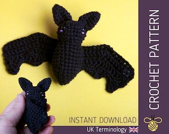 Betty the Bat CROCHET PATTERN - Downloadable amigurumi PDF pattern for an adorable crochet bat, Beginner - Intermediate, Halloween Decor