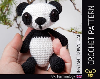 Peyton the Panda CROCHET PATTERN - Downloadable amigurumi PDF pattern for an adorable crochet panda, Beginner - Intermediate