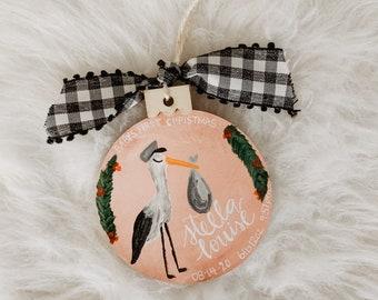 Glitterville Christmas Ornament Anthropologie Stork Blue Boy Baby