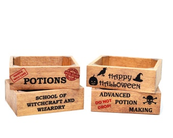 Miniature Halloween Crate Potion Potions Harry Potter Wizard Brew Cauldron Witch Sweets 1:12 Scale Dolls House Cats Halloween Decoration