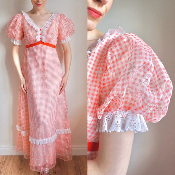 Vintage 70s Dress/ 1970s Red Gingham Maxi/ Empire/