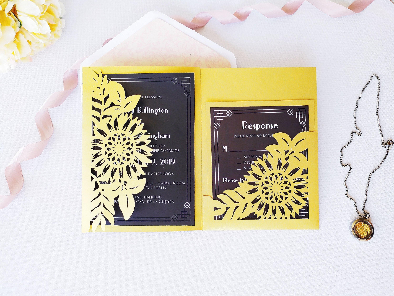 Tri-Fold Pocket Wedding Invitation Cut Template Envelope A7 5x7 Swirl Lace Card Silhouette Studio Svg Dxf Eps Paper Papercut Laser Cut File
