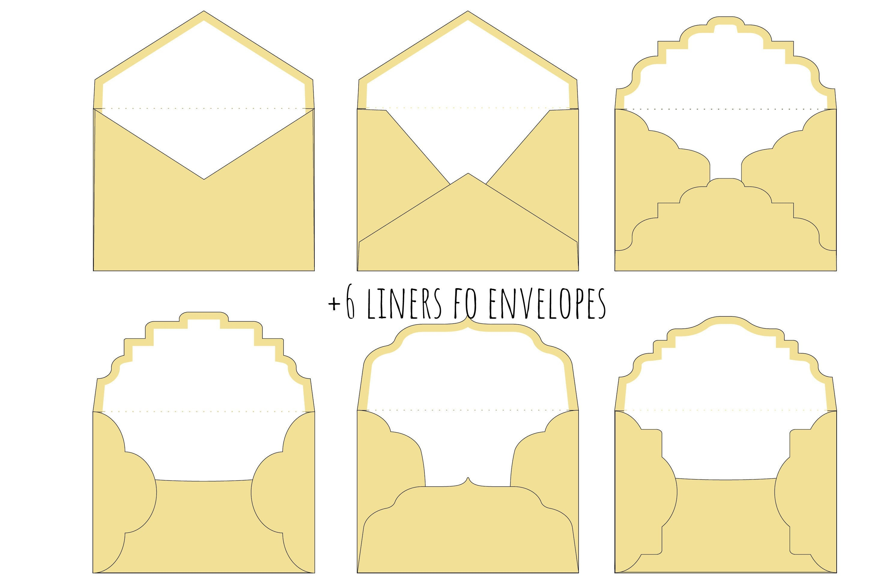 Set 6 Wedding Square Envelope 6.5x 6.5 in  Template Flap Liner for 6x6 Invitation Vector Svg Dxf Eps Silhouette Paper DAY Papercut Laser Cut