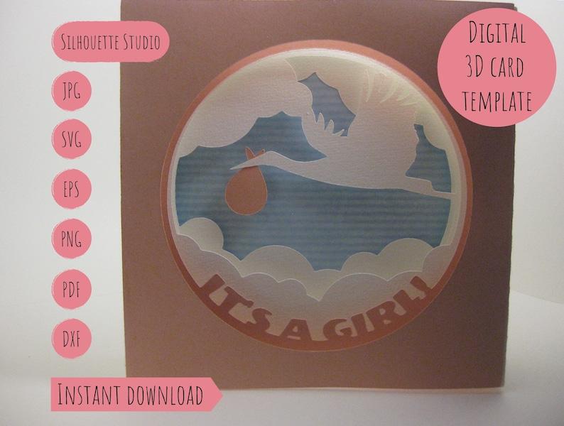 Its A Girl Baby Shower 3d Birthday Card Tunnel Shadowbox DIY
