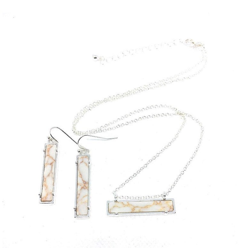 NEW White Howlite Bar Set Necklace and Earrings in Silver Metal Tone