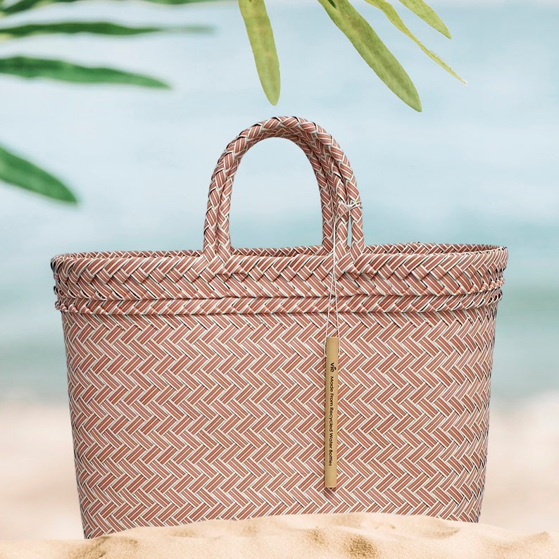 Recycled Plastic Woven Beach Tote Bag Pink