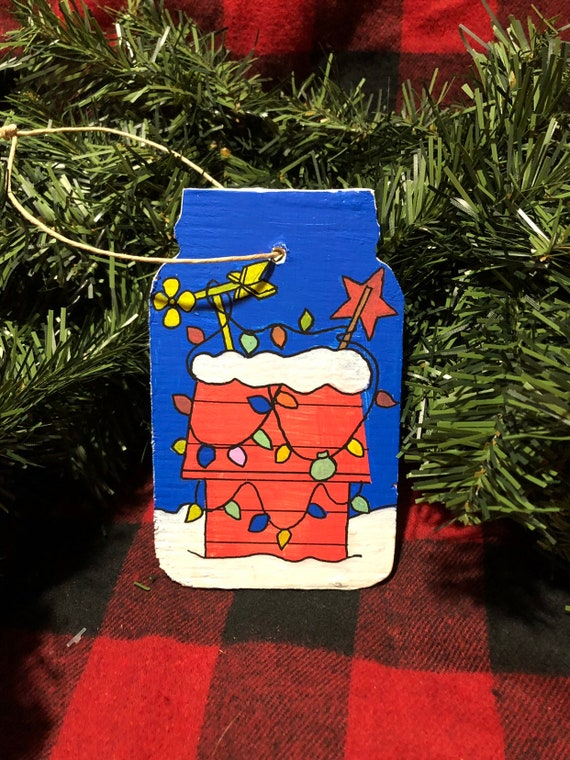Charlie Brown Christmas Decorations.Charlie Brown Christmas Hand Painted Wooden Ornament Snoopy S Doghouse Charlie Brown Tree