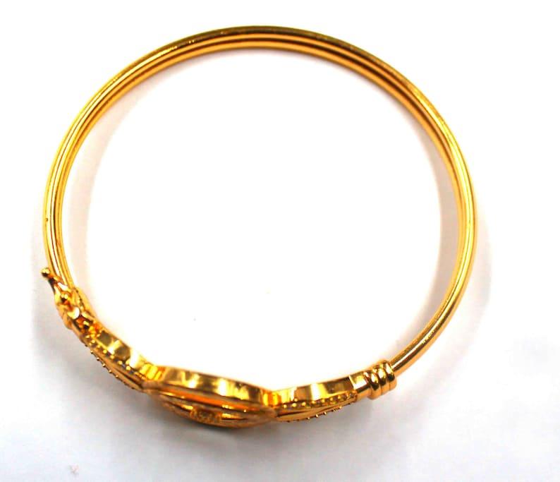 57.20 Carat Gold Engraved Bangle for Women Stacking Gold Bangle  Classic Gold Bracelet  Minimal Gold Bangle Christmas Sale