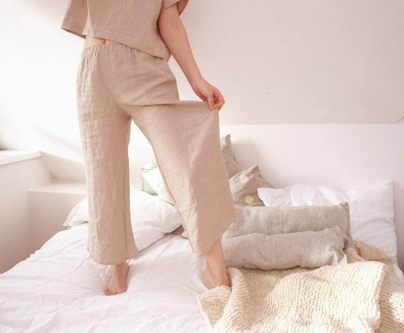 Linen pajama pants Wide leg linen pants Womens linen clothing Plus size clothing Womens linen sleepwear Linen nightwear Linen pajama