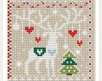 Tiny Modernist WINTER BELL PULL Cross Stitch Pattern Winter Cross Stitch Pattern