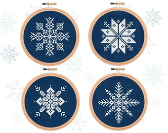 Christmas Snowflakes Cross Stitch Holiday Ornaments Cross Stitch Snowflakes Embroidery Winter cross stitch Easy Cross stitching Beginner