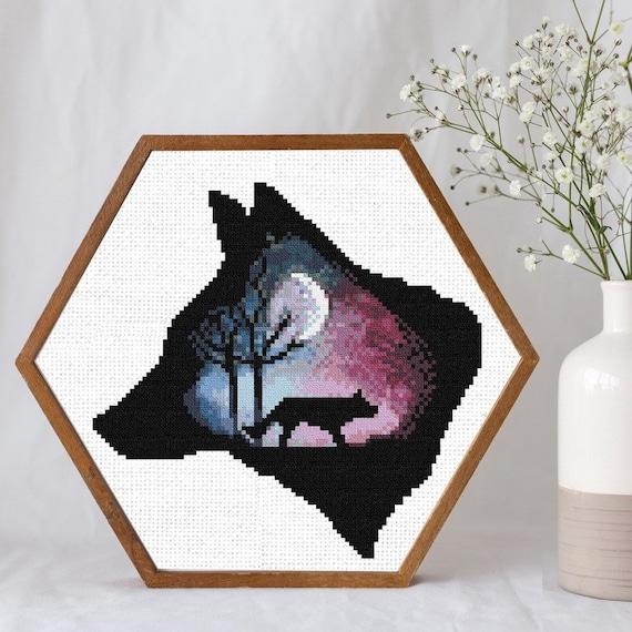 Chart Counted Cross Stitch Pattern Needlework Xstitch Craft DIY Wolf/'s Night