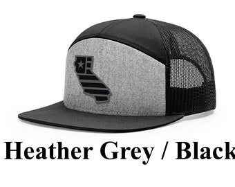f70a6269 California Charcoal Flag Cap (Flagship Collection) | Synthetic Leather  Patch | California State Outline | Adjustable Snapback| Great Gift