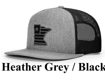 new concept 3dc16 78ceb Minnesota Grey Cap (Flagship Collection)   Synthetic Leather Patch    Minnesota Outline  Adjustable Snapback  Flat Bill Trucker Cap   MN