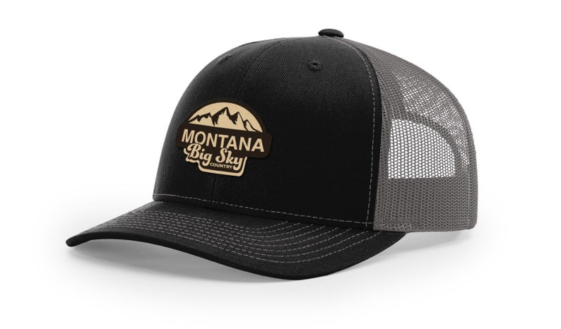 Iconic Collection Ball Cap Montana Black Classic Trucker Cap Great Gift | Genuine Leather Patch Adjustable Snapback Montana Hat