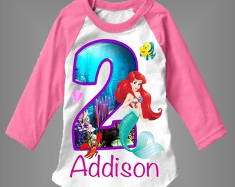 Little Mermaid Birthday Shirt Customized With Any Age And Name