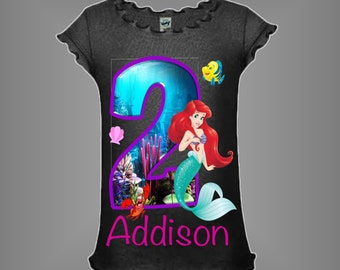 Little Mermaid Birthday Shirt Personalized With Any Age And Name