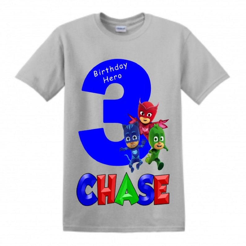 PJ Mask Birthday Shirt Customized with any name and age