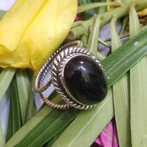 Black Onyx Ring Onyx Sterling Silver Ring Friendship Ring Boho Ring Black Stone Ring Cocktail Ring Onyx Jewelry Pear Stone Ring Dainty Ring