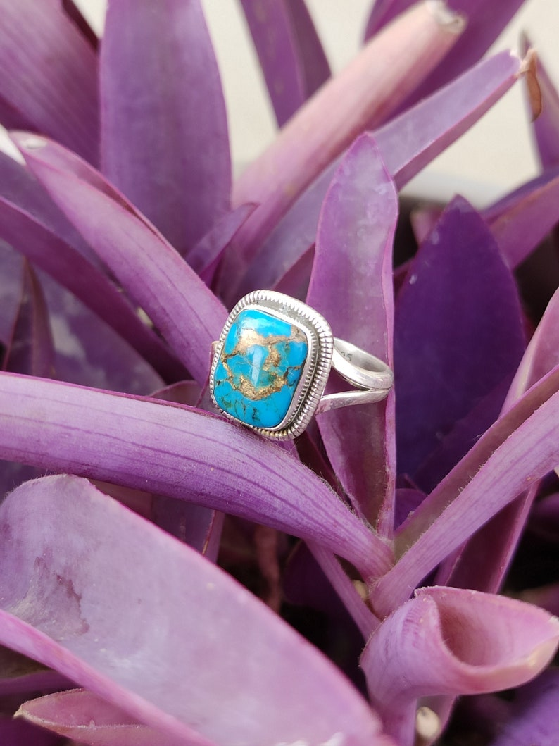 Dainty Ring,Vintage Ring Blue Copper Turquoise Ring Bohemian Ring,Gypsy Ring,Organic Ring,Blue Ring Statement Ring Sterling Silver Ring